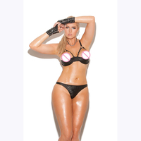 Hot Sexy Black Leather Women Lingerie Set Erotic Open Bra Lingerie G String Underwear With Gloves