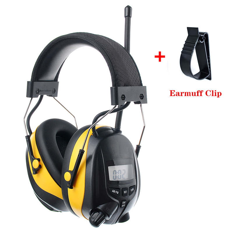 NRR 25dB MP3 AM FM Radio Hearing Protection Ear Muffs Electronic Ear Protector Noise Reduction Safety Earmuffs For Working