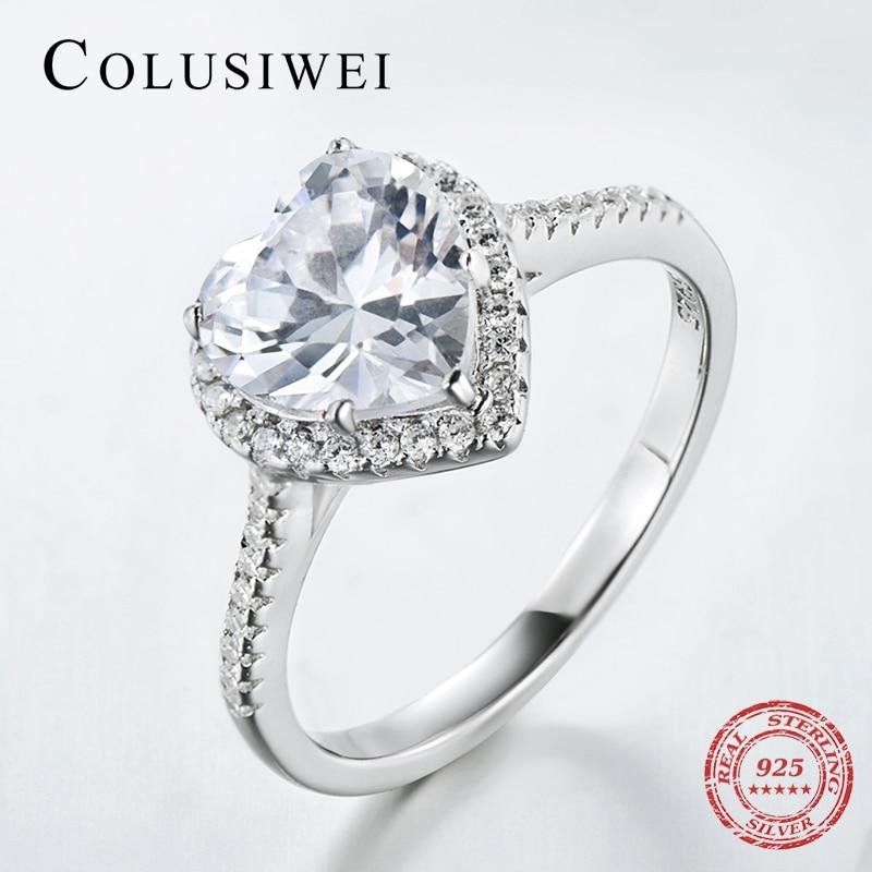 Forme de coeur 925 Soild Argent bijoux bague AAAAA Niveau CZ bande de mariage Bagues de Fiançailles pour femmes filles bijoux Avec Boîte-cadeau