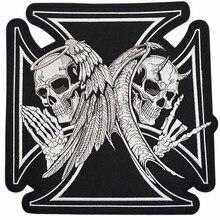 """11,"""" XL Большой Ангел N Дьявол череп черный крест большой MC нашивки для одежды Байкерская кожаная куртка черный белый"""