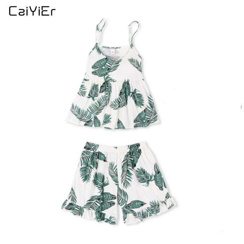 Caiyier Green Palm Leaf Print Cami   Pajama     Set   V-Neck Sexy Sleeveless Sleepwear 2019 Summer Nightwear With Chest Pad