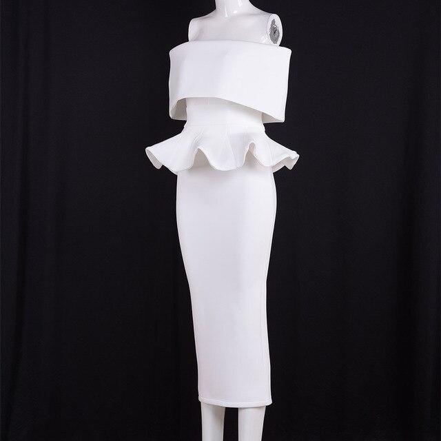 Seamyla Elegant White Vestidos Nes Fashion Mid Calf Ruffles Womne Evening Party Dresses Sexy Strapless Bodycon Summer Dress 2017