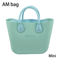 AMbag Obag O bag Style Waterproof Mini EVA AMbag with Zip-up Canvas Lining Colorful Leather Handle Women DIY Handbag waterproof lining insert pocket handles for classic for obag canvas inner pocket for o bag silicon bag handbag accessories