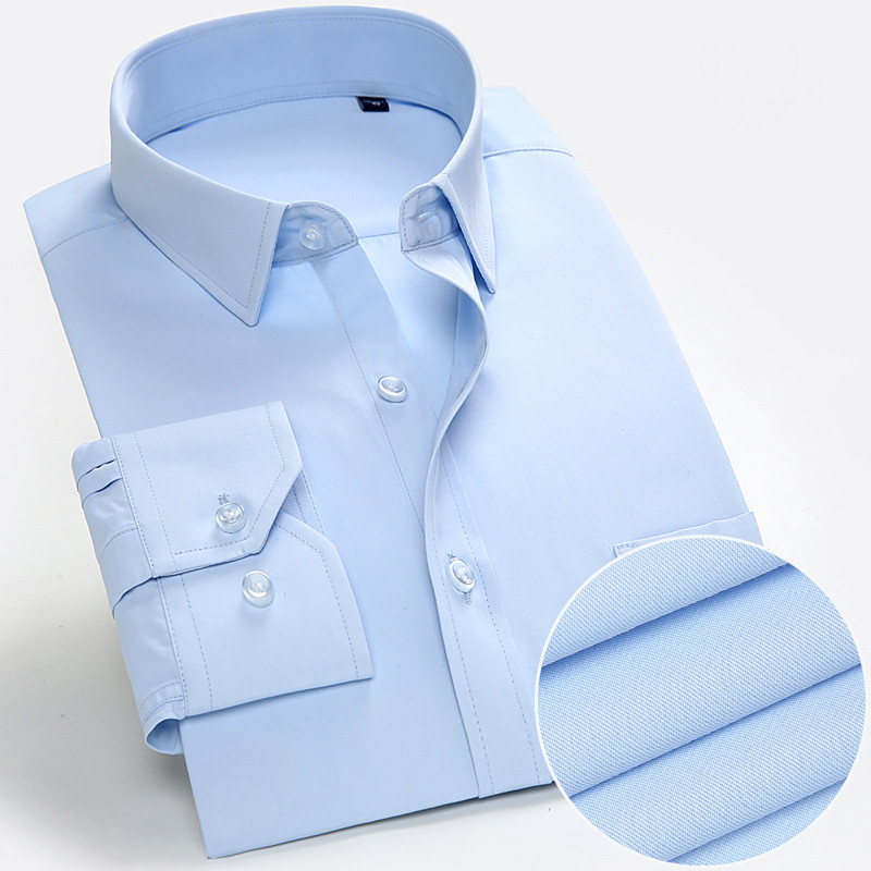 Plus Size  S To 8xl  Good Quality Square Collar Long Sleeve Regular Fit Easy Care Solid Plain/twill Men Formal Dress  Shirts