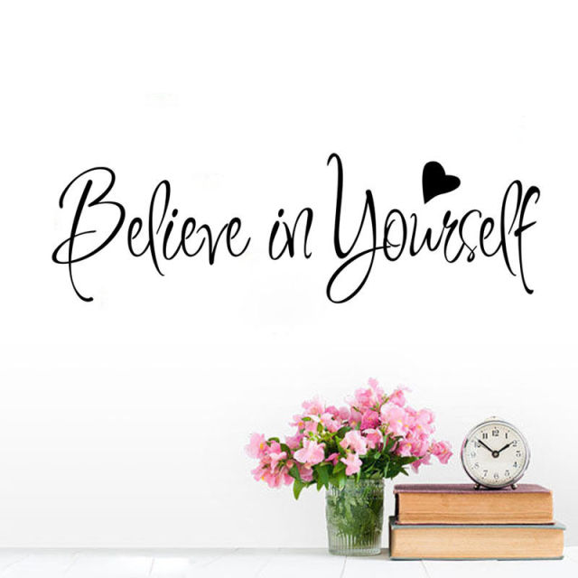Wonderful Believe In Yourself Quote Wall Sticker For Kid Bedroom Inspiring Word Wall  Decal Waterproof Home Decor
