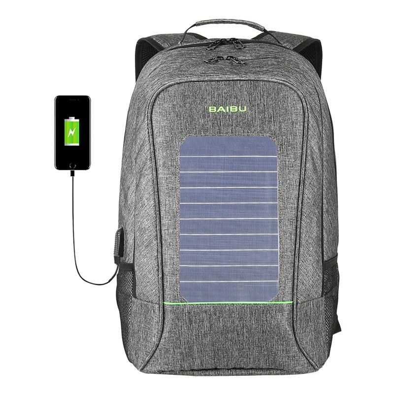Multifunction Solar Energy Men Women Backpack Anti Thief Waterproof 15 6 inch Laptop USB Charging Backpack
