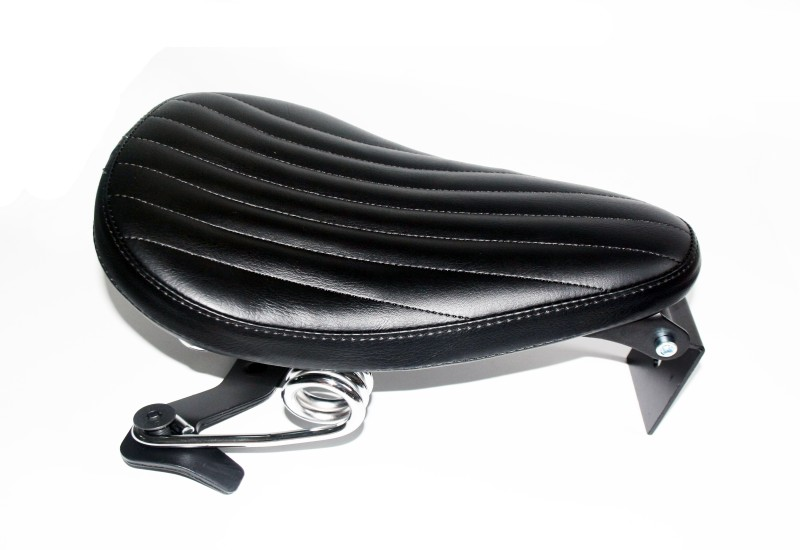 Motorcycle Black Roll Leather Driver Solo Seat & Spring + Saddle Bracket For Harley Sportster XL883 XL1200