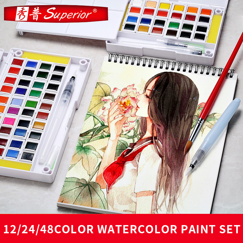 Superior 48Colors Solid Watercolor Painting Set With Paintbrush Bright Color Portable Watercolor Pigment For School DrawingSuperior 48Colors Solid Watercolor Painting Set With Paintbrush Bright Color Portable Watercolor Pigment For School Drawing