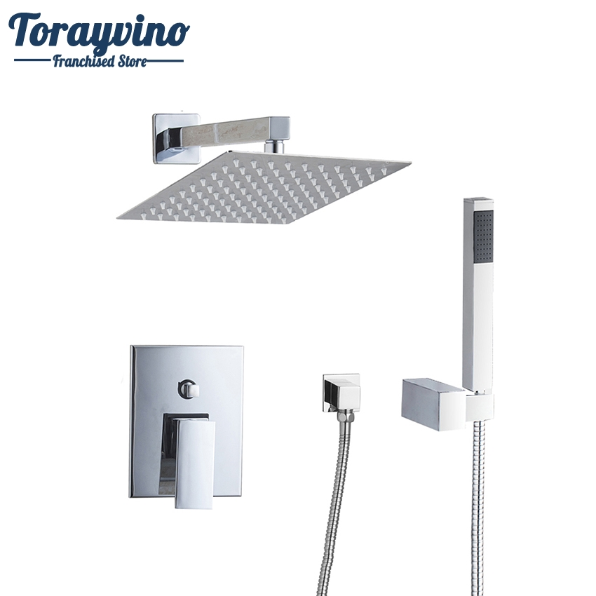 Torayvino Bathroom Shower Set 8 Square Top Shower Head Wall Mounted Rainfall Shower Faucet And Square Hand Shower Spout Set good quality wall mounted square style brass waterfall shower set new bathroom shower with handle rainfall shower head