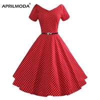 50s Summer Vintage Dress Audrey Hepburn Style Short Sleeve Polka Dot Plus Size Casual Women Retro Big Swing Rockabilly Dresses