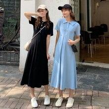 купить Elegant Women Maxi Dress Doll Collar Dress Female Long A-line Dress Summer Short Sleeve Loose Women Dresses дешево