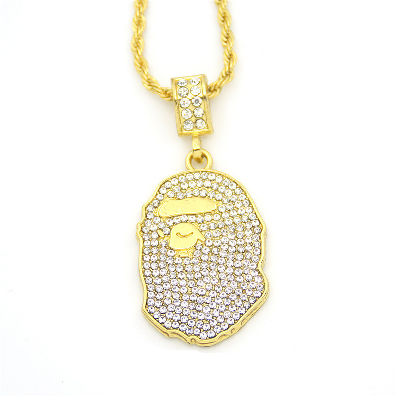 BNRESALE Hip Hop Iced Out Quavo Choker Full Rhinestone Ape Pendent Necklace Present Bling Bling Rapper JewelryBNRESALE Hip Hop Iced Out Quavo Choker Full Rhinestone Ape Pendent Necklace Present Bling Bling Rapper Jewelry