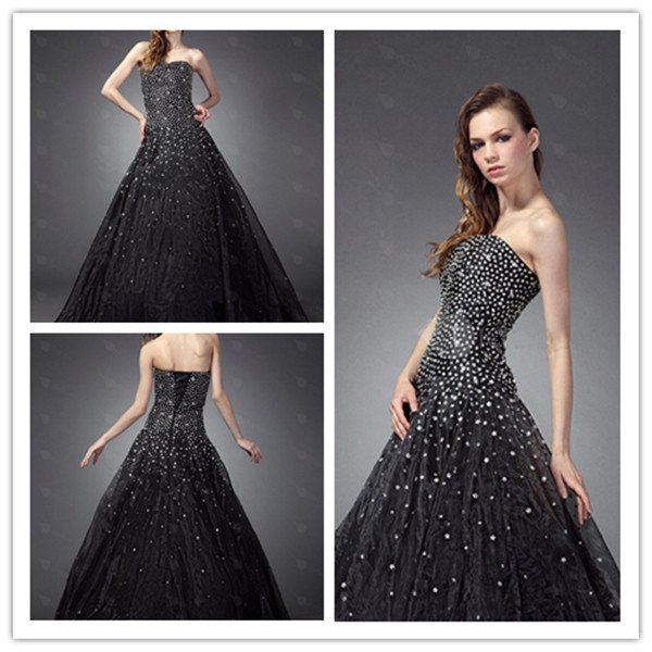 Black Strapless Ball Gown Floor Length Sequins Accented Bodice ...