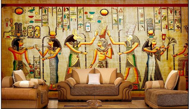 Custom photo 3d wallpaper non woven mural celebration of for Egyptian wallpaper mural