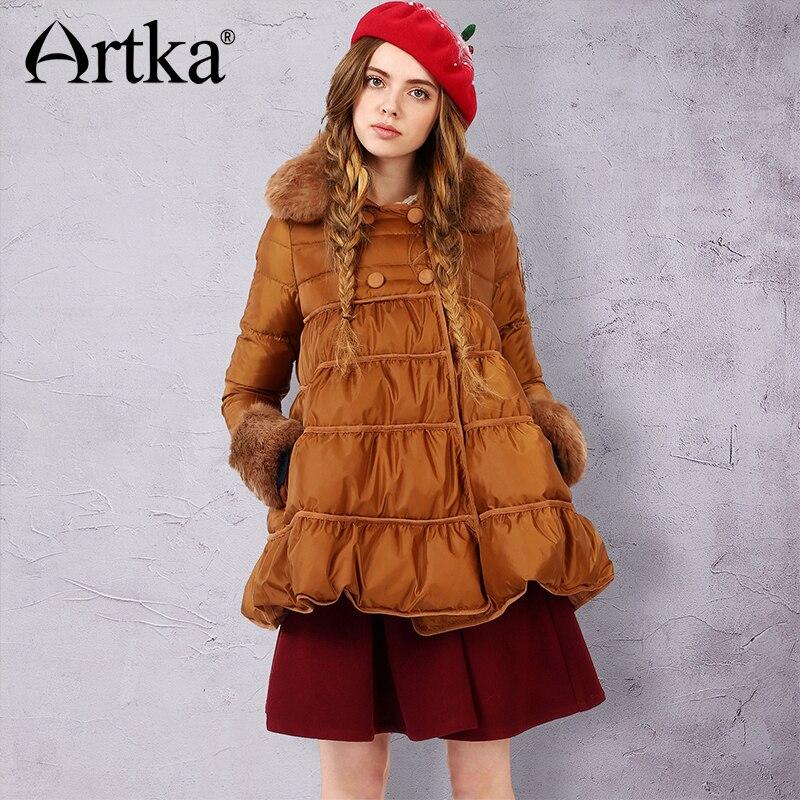 ARTKA   Down   Jacket Women Winter Outerwear Fur Parka Double Breasted   Down     Coat   Female Puffer Jacket A-Line Overcoat ZK15559D