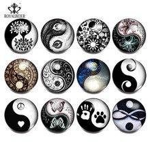 ROYALBEIER bracelets en verre 18mm, 12 pièces/lot, bouton pression en verre figurine tai chi, noir et blanc, breloque, KZ0861a