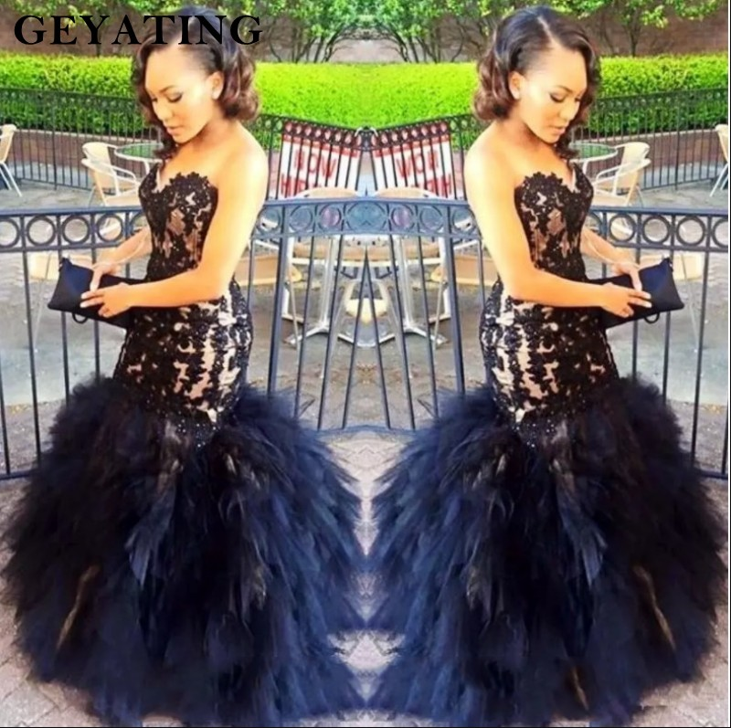 African Mermaid   Prom     Dresses   2K19 Lace Sweetheart Black Girl   Prom     Dress   Appliques Ruffles Sequin Long Women Formal Evening   Dress
