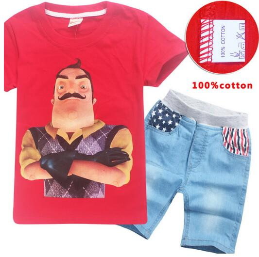 Boys Girls Kids Hello Neighbor Short Sleeve T-shirt Casual Summer Party Costumes