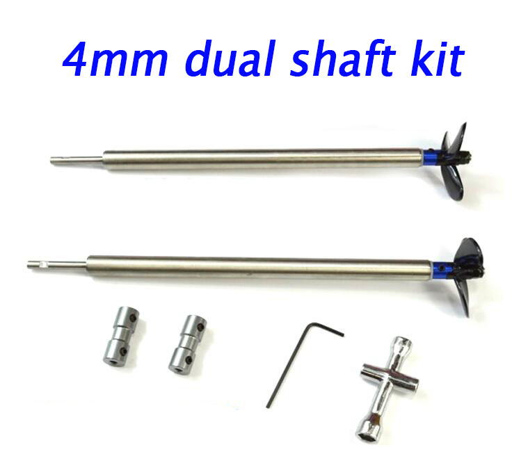 4mm RC Model Boat dual shaft assembly kit Metal Drive shaft+40/44/48mm propeller+Coupler+wrench length 50/100/150/200/250/300mm 3mm rc boat shaft set 100 150 200 250mm motor drive shaft with coupler propeller screw drive dog spare parts