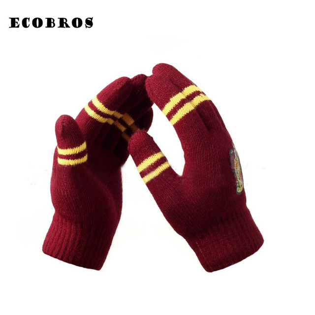 Gryffindor / Slytherin / Hufflepuff / Raven Carat winter warm Gloves Multicolor College Style Series Gift Boys Girls Gloves