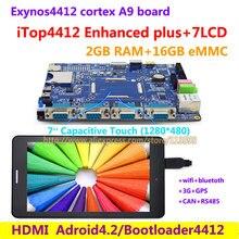 Cortex A9 Quad core Exynos4412 iTop4412 Enhanced plus + 7 дюймов, 2 Г RAM + 16 Г Flash, 3 Г GPS Bluetooth wi-fi HDMI Android 4.2