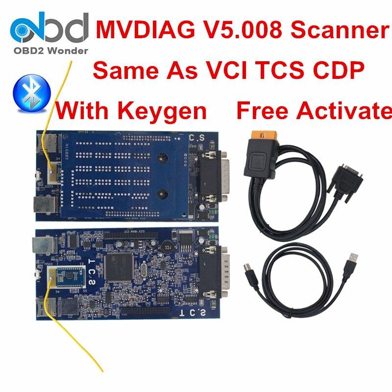Цена за Новинка 2017 года Профессиональный mvdiag Bluetooth TCS CDP PRO МВД Diag WOW 5.00.8 автомобиль грузовик инструмента диагностики с Keygen Бесплатная активации