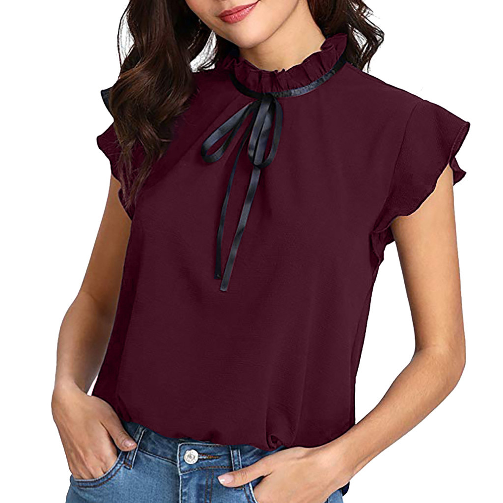 2019 Summer   Blouse     Shirt   Women's Casual Cap Sleeve Bow Tie Solid Chiffon   Blouse   Tops Blusas Mujer de Moda Female Sleeveless