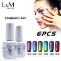 IDO Gel Nails 6 Pcs Set Free Shipment Brands Chameleon Gel Colorful Phantom Shinning Uv Nail Polish Duration Lasting 30 Day