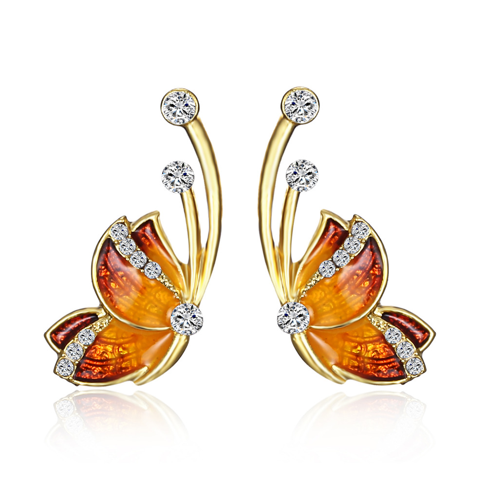 RINHOO Hanging Butterfly Earrings Two Wear Crystal Rhinestone Fashion Temperament Korean Earrings Fine Jewelry For Women