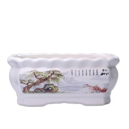 Pots de fleurs rectangulaires en céramique avec plateau en plastique créatifs Pots de fleurs succulentes peintes à la main balcon intérieur Pots de plantes vertes