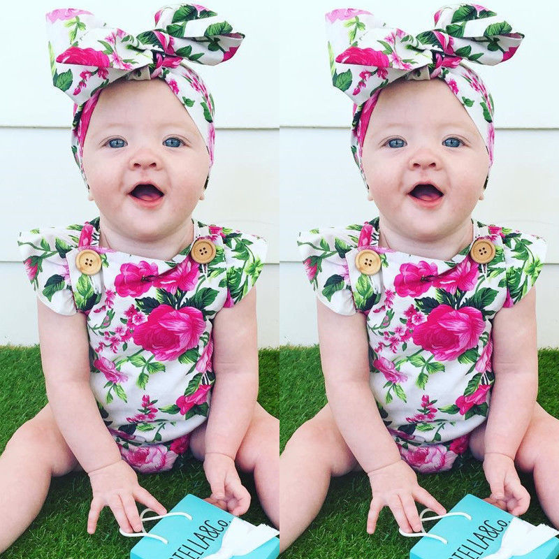 2pcs Floral Baby Girl Clothes 2018 Summer Ruffles Halter Romper +Headband Outfit Toddler Kids Clothing Set 0-24M