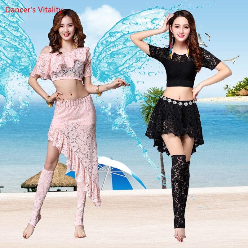 New Hot-Sale Professional Belly Dance Top+skirt Set 2pcs Sexy Lace Edge Skirt Irregular For Women Long Skirt