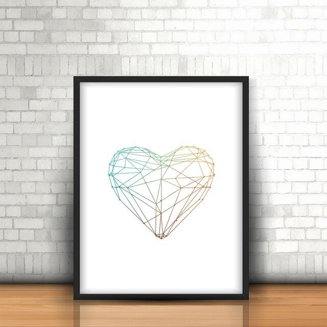 Cartel del Arte del Corazón Líneas geométricas pared creativo cuadro ...
