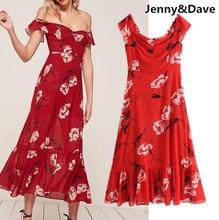 Дженни и Дэйв летнее платье женщина Vestidos чешские Sexy Повседневное цветочным принтом для отдыха EW плечо платье Большие размеры Для женщин платье