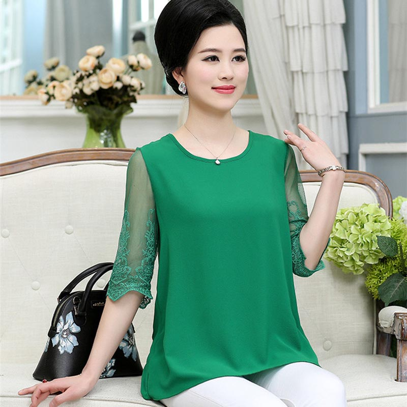 fbd026d48c743 Middle aged and old women s summer wear sleeves chiffon unlined upper  garment of loose t shirts PXOS25HP -in T-Shirts from Women s Clothing on ...