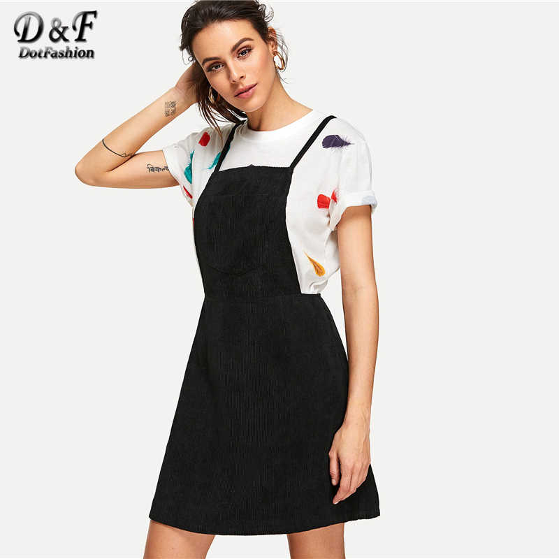 fe874da2e38b Dotfashion Crisscross Back Overall Dress 2019 Summer Sleeveless Preppy Fit  and Flare Dress Women Black Pinafore