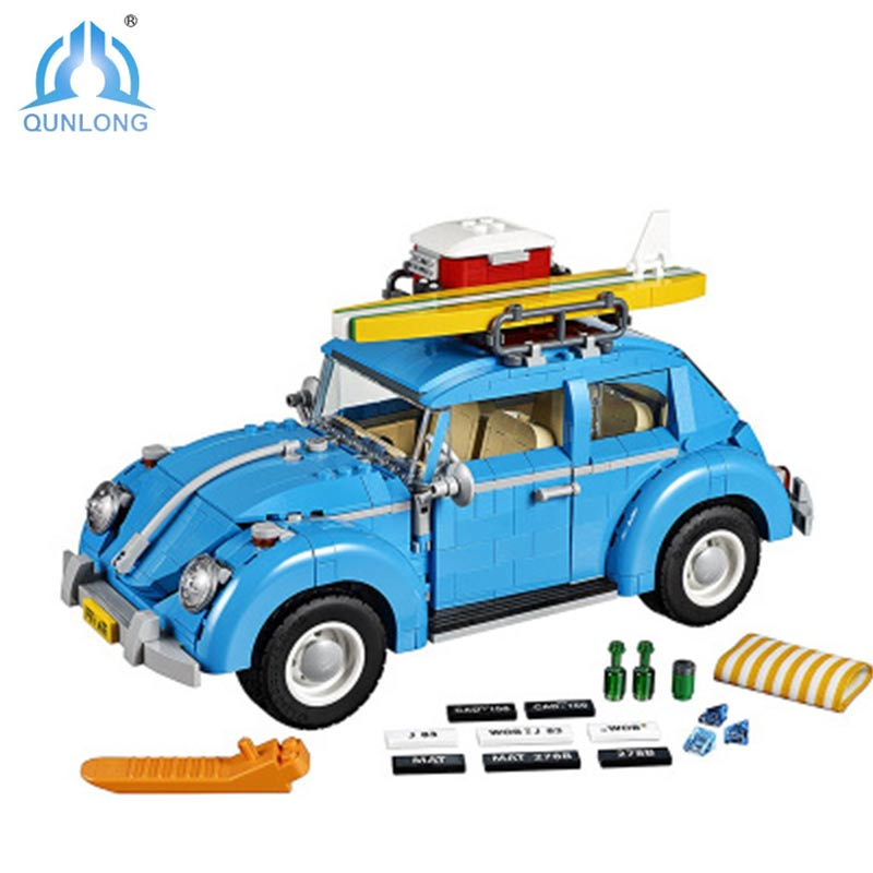 Qunlong Creator Series City Car Bricks Volkswagen Beetle Model Building Blocks Board Compatible Blocks Toys For Children a toy a dream lepin 15008 2462pcs city street creator green grocer model building kits blocks bricks compatible 10185