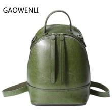 Gaowenli бренд корова Пояса из натуральной кожи Рюкзаки подлинной первый Слои из коровьей кожи Топ Слои коровьей Для женщин рюкзак Школьные сумки