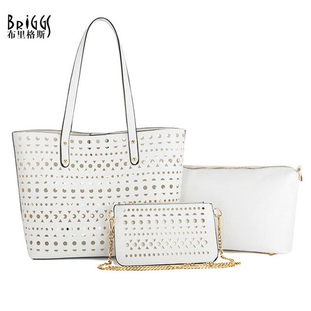 Briggs Brand 3 Bags Per Set Women Hollow Out Handbags Designer High Quality Tote Bag Messenger