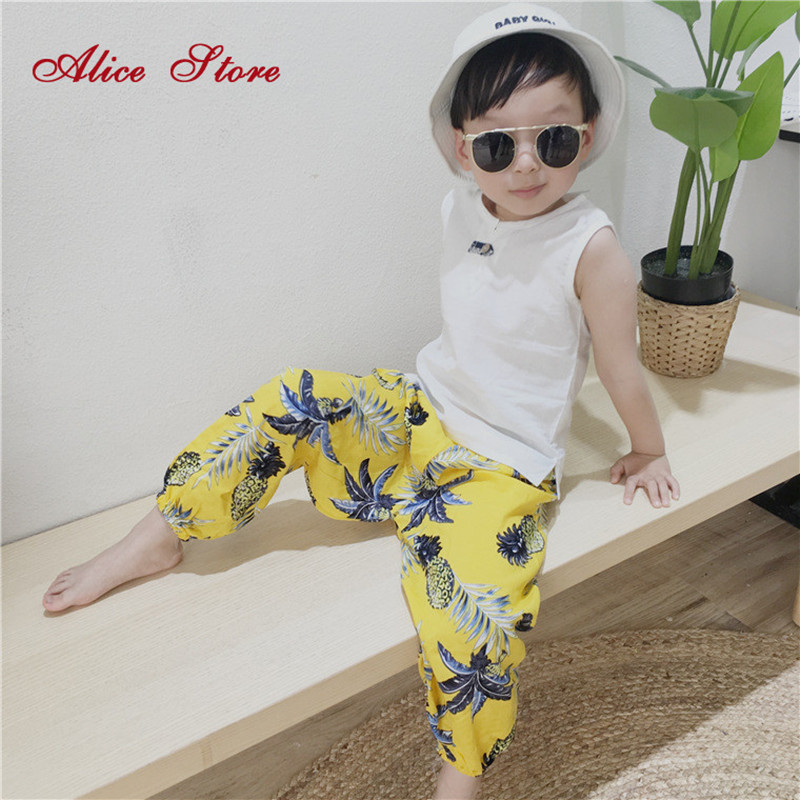 Tees T-Shirt Sleeveless Tops White Boys Kids Cotton Children's Summer New And Casual