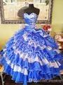 Hot 2016 Masquerad Vestido Azul Quinceanera vestido de Baile de Tule Ruffles Frisada Barato Doce 16 Vestido Vestidos De 15 Años QX1