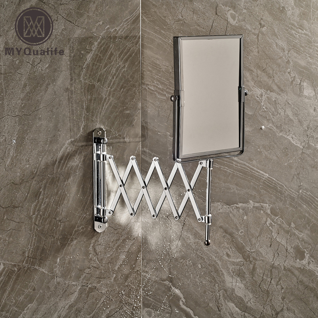 Chrome Framed Wall Mounted Bathroom Make Up Mirror Silver Extending Cosmetic 1x 3x