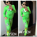 2017 IMYSEN Women Tracksuits Spring Autumn Solid Cartoon Printed Long Sleeve Casual sportswear Hoodie Tops Long Pants 2 Pieces