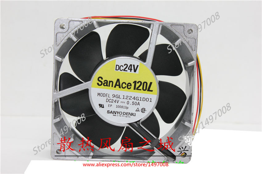 все цены на Free Shipping For SANYO 9GL1224G1D01 DC 24V 0.50A, 120x120x38mm 3-wire 3-pin connector 80mm Server Square cooling fan онлайн