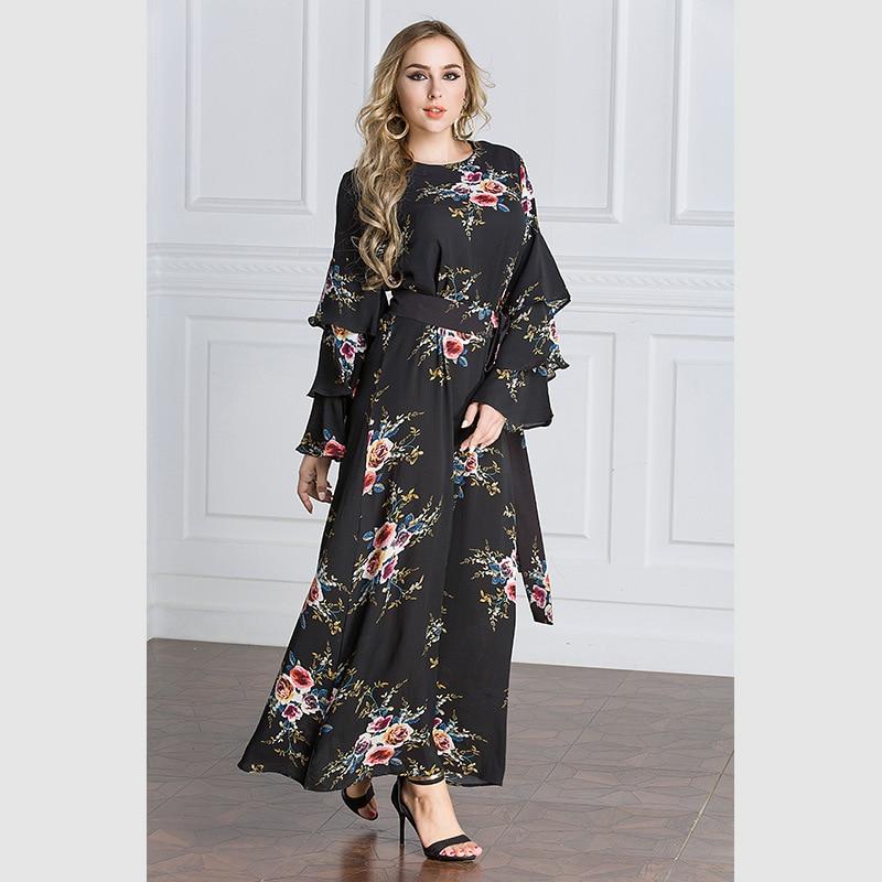 79441df90d Muslim Clothing Maxi Chiffon Belted Loose Ruffles Islamic Robe Femme Long  Sleeve Dress Malaysia Turkish Abaya Women Dress M-7XL