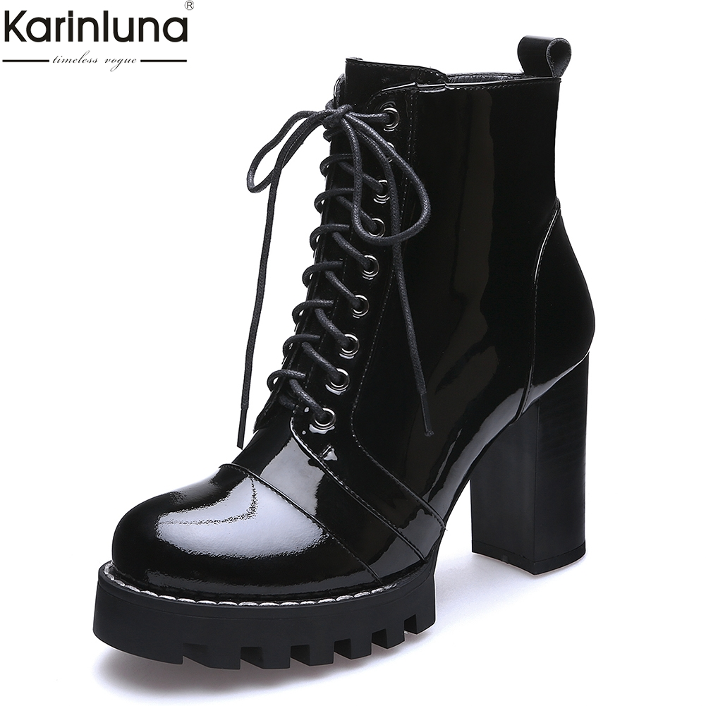 Karinluna big size 41 Cow Leather Genuine Leather Women Shoes Ankle Boots Fashion Platform High Heels lace up Boots Woman ShoesKarinluna big size 41 Cow Leather Genuine Leather Women Shoes Ankle Boots Fashion Platform High Heels lace up Boots Woman Shoes