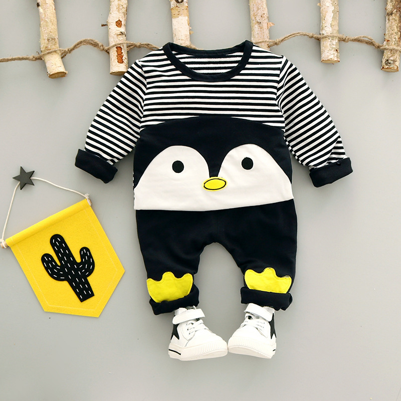 Autumn Baby Boys Kids Infants Bebe Cartoon Penguin Striped Sweatshirt Pullovers Tops+Long Pants 2pcs Casual Clothing Set S5518 baby boys male infants kids long sleeve striped t shirt tops star bib overalls long pants 2pcs clothing set suit a58