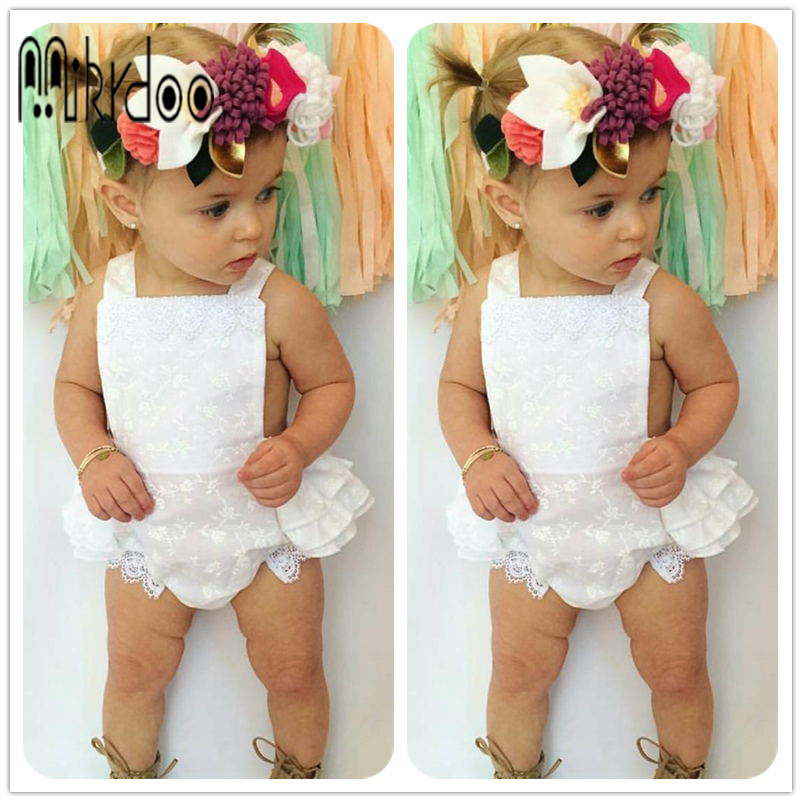 Baby girl clothes strap clothing set lace romper sleeveless toddler jumpsuit kids bodysuit infant outfit cotton children costume newborn infant baby girl clothes strap lace floral romper jumpsuit outfit summer cotton backless one pieces outfit baby onesie