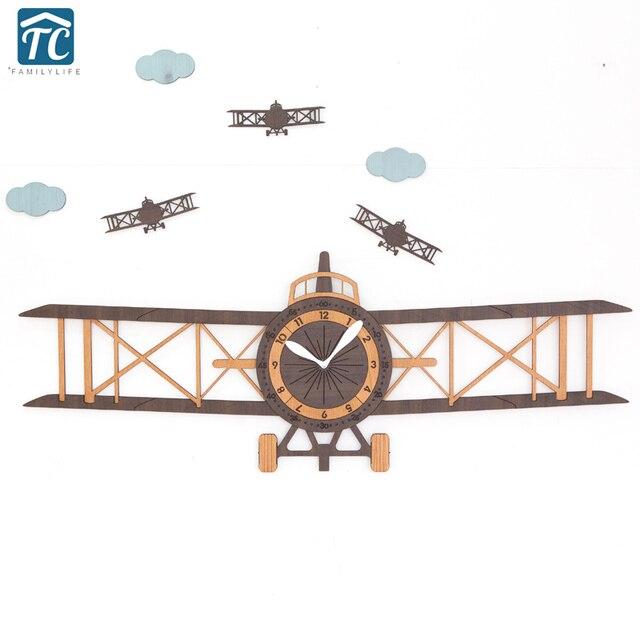 Große Propeller Flugzeuge Kreative Wanduhr Wohnzimmer Modernen Europäischen  Kinder Cartoon Holz Hängende Uhr