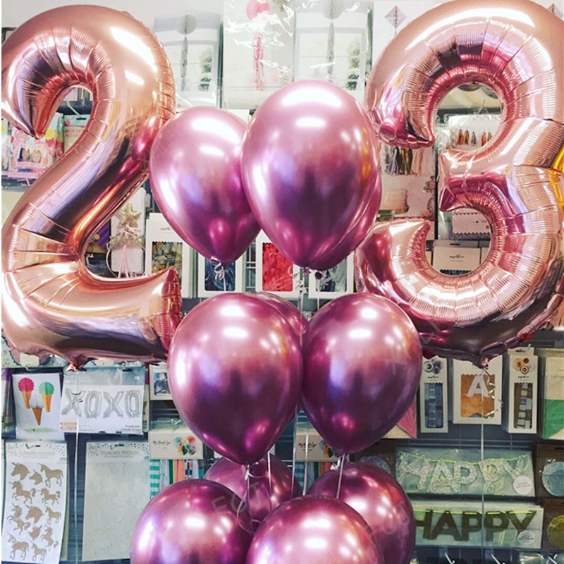 12pcs Lot Large 40inch Rose Gold Number 23 Foil Balloons Adult Birthday Party Decoration Wine